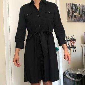 Theory Black Shirt Dress Belted Dress Size 2-4